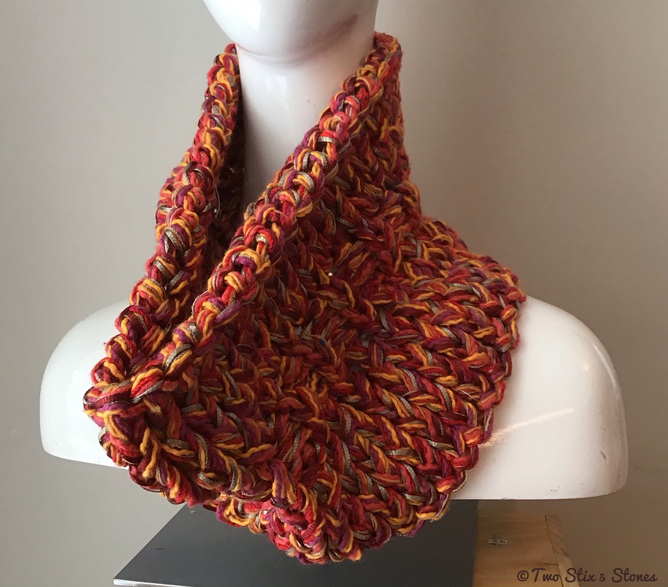 Red & Orange Tweed Knit Cowl