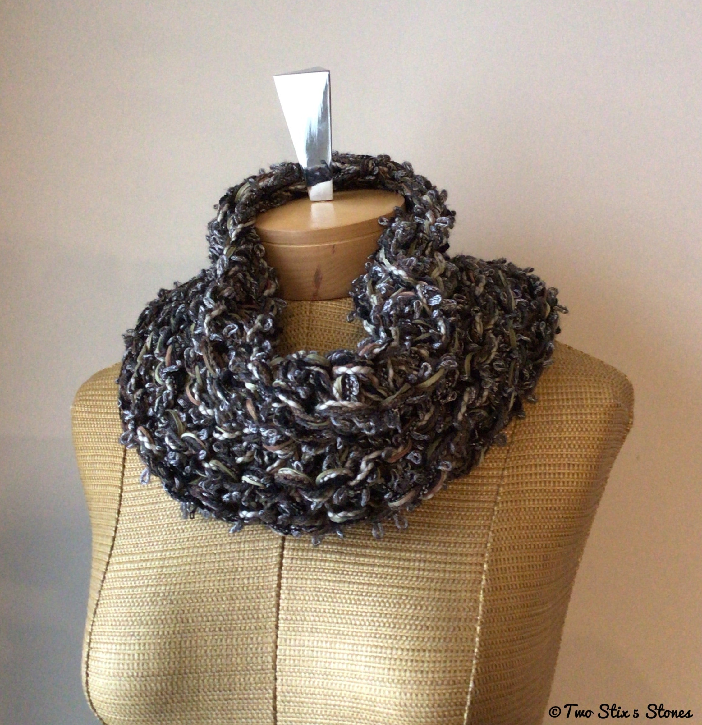 Luxe Chocolate & Grey Tweed Knit Cowl