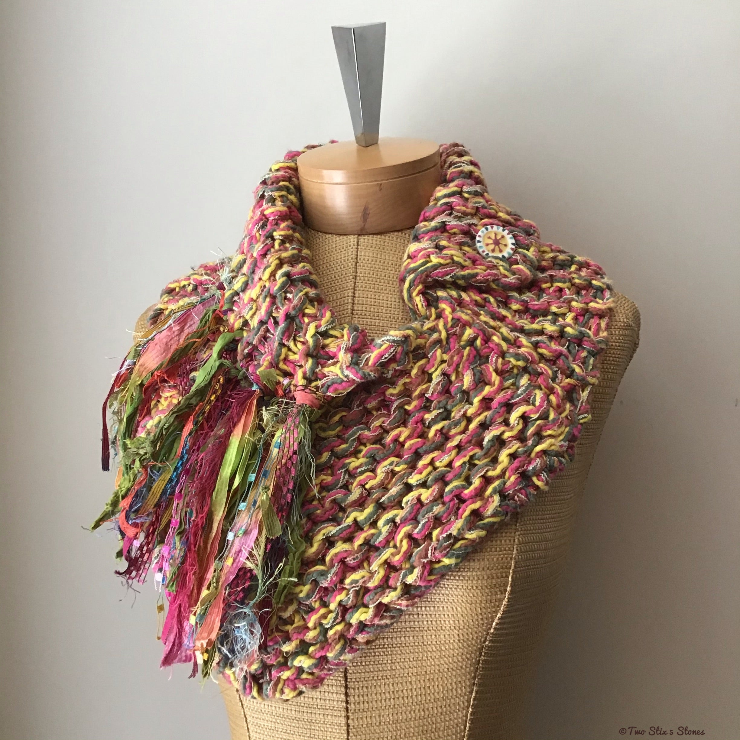 Yellow/Pink/Green Tweed Shawlette w/Fringe