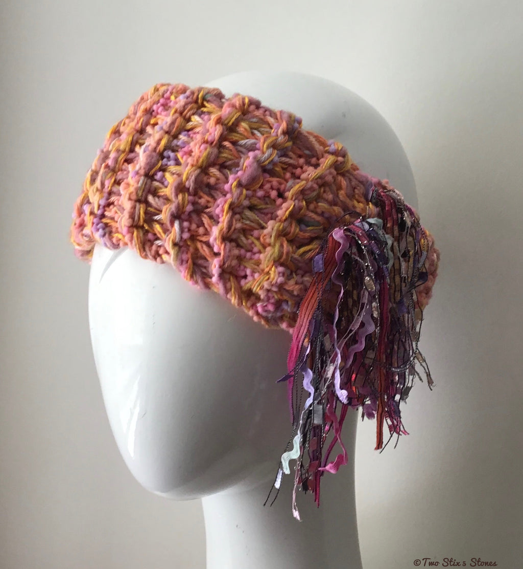 Orange/Green/Pink Tweed *Funky Chic* Headband