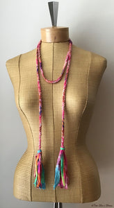 Pink Tweed Choker Necklace/Belt