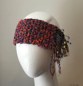 Orange & Blue Tweed *Funky Chic* Headband