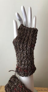Chocolate Tweed Fingerless Gloves
