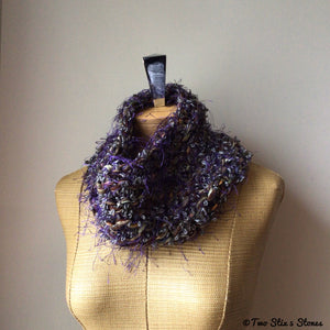 Purple & Grey Tweed Knit Cowl