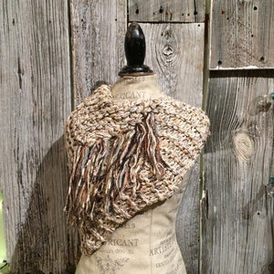 Grey Tweed Shawl w/Fringe