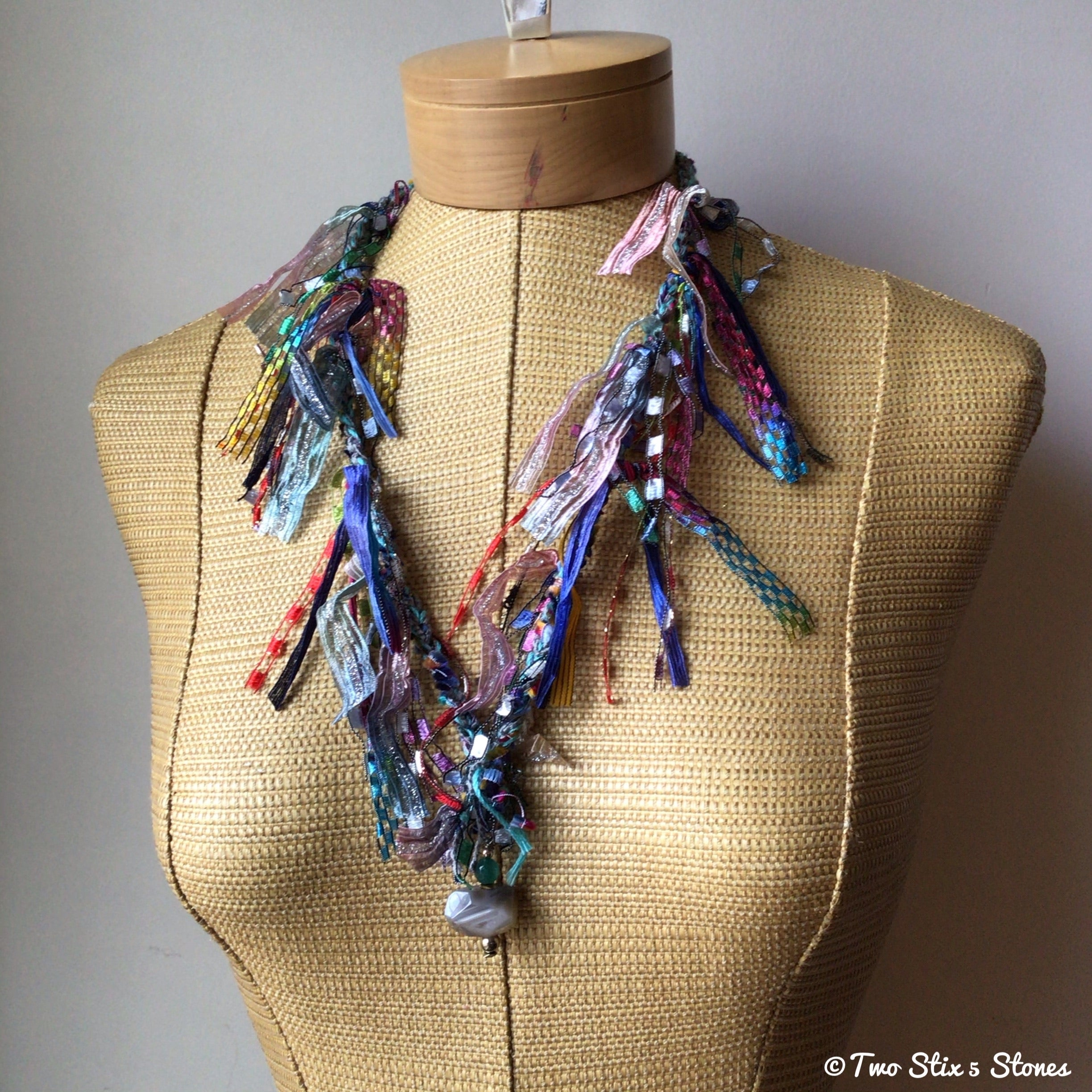 Turquoise Tweed Fiber Necklace w/Semi-Precious Stones