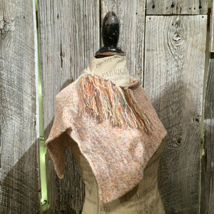 Fine Knit Oatmeal Tweed Shawl w/Fringe