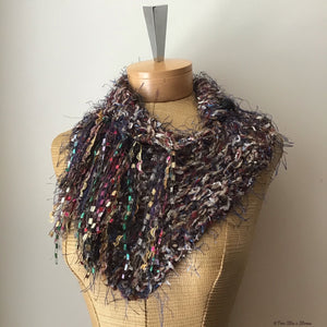 Burgundy & Tan Tweed Knit Shawlette w/Fringe