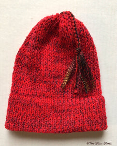 (Age 2-4) Red Tweed *Funky Tassel* Toddler Hat