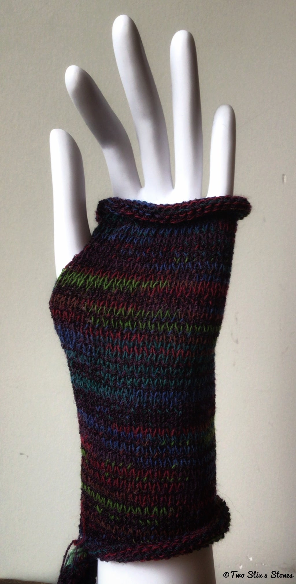 Purple Tweed Fingerless Gloves