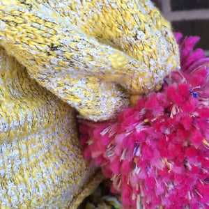 Yellow Tweed Slouchy Hat w/Pink Pom-Pom