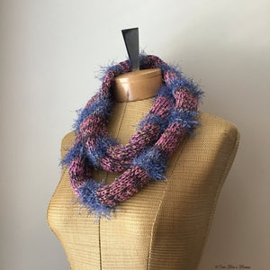 Skinny Lavender Tweed w/Blue Accents Infinity Scarf