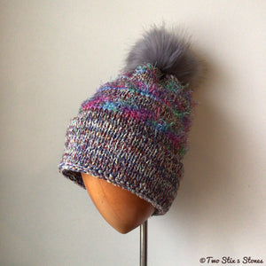 Luxe Lavender *Funky Tweeds* Faux Fur Beanie/Slouchy Beanie