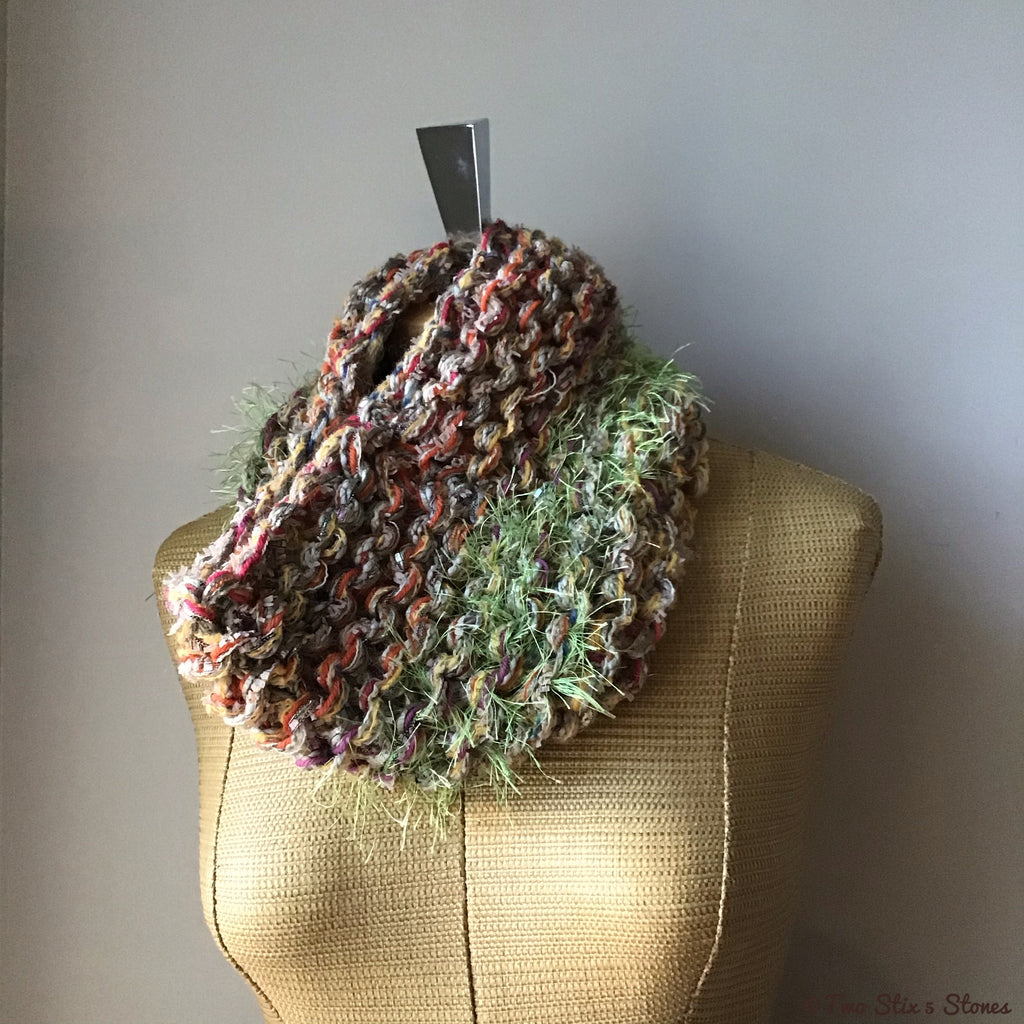 Orange Natural Green Tweed Knit Cowl