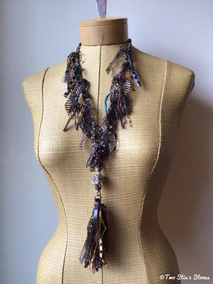 Two Stix Luxe Signature Fiber Necklace w/Stones