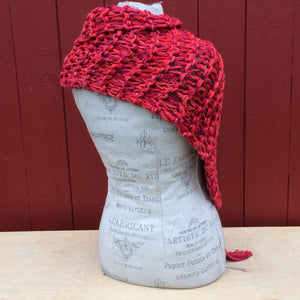 Luxe Red Tweed Shawl w/Fringe