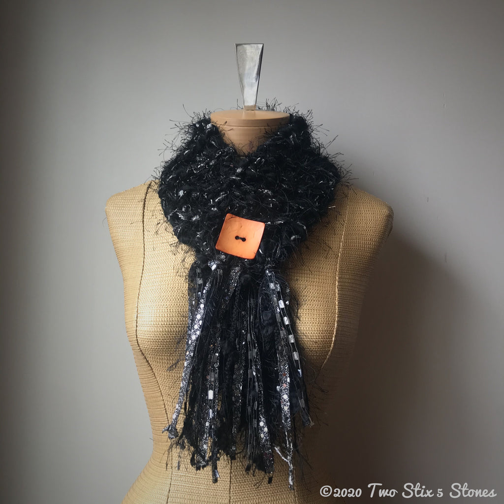 Black Tweed *Diva Chic* Slipover Scarf