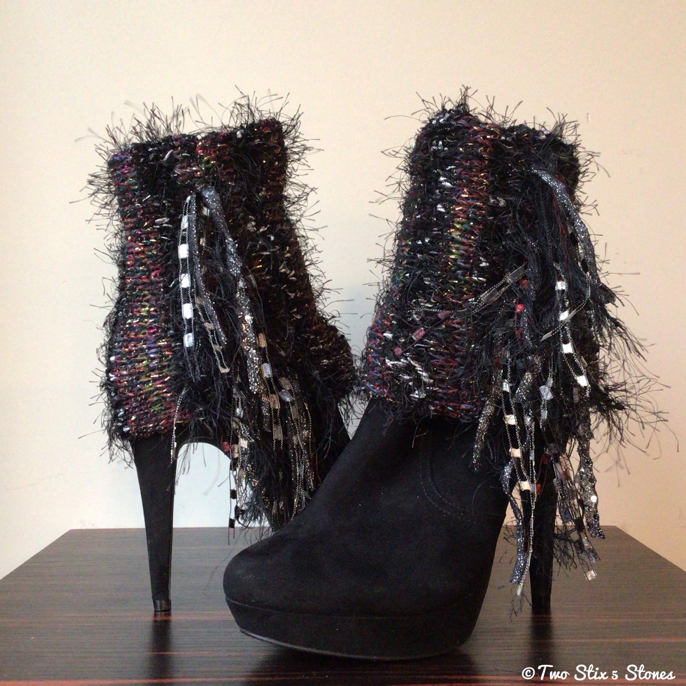 Luxe Black Tweed *Diva Chic* Boot Toppers