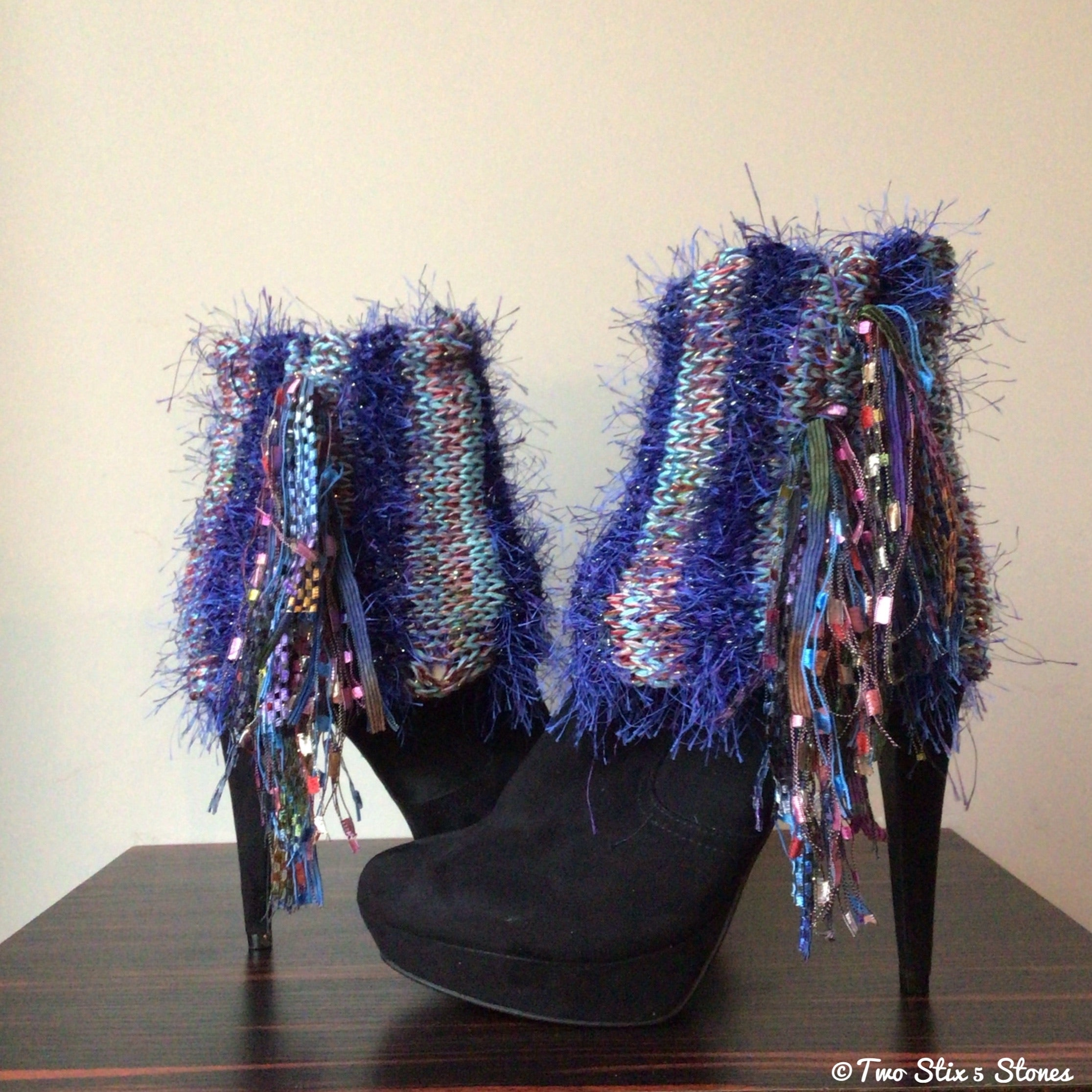 Luxe Blue & Turquoise Tweed *Diva Chic* Boot Toppers