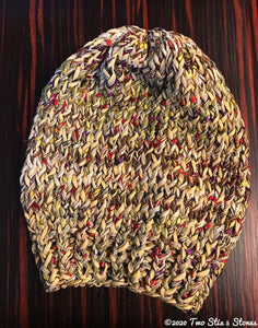 Luxe Tan & Chocolate Tweed Slouchy Hat