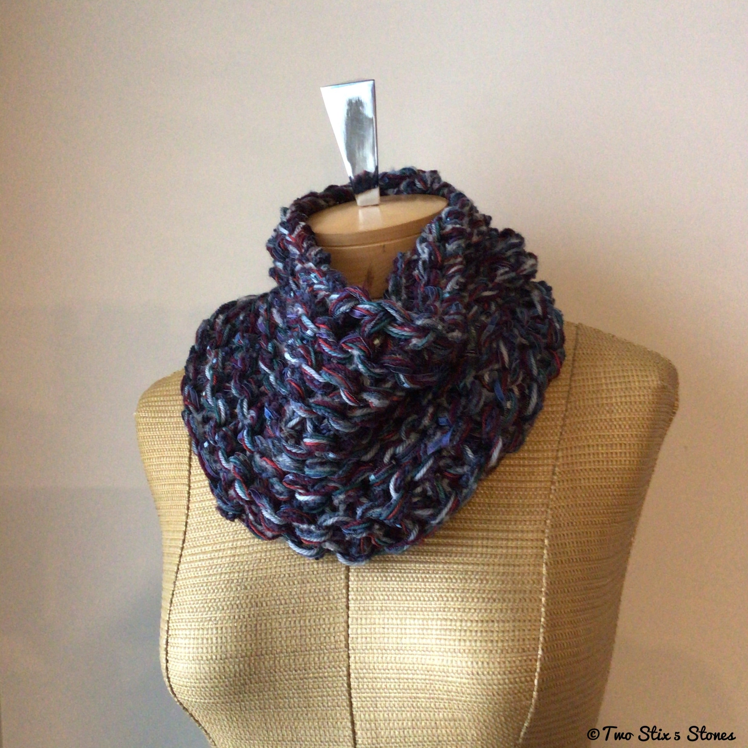 Luxe Blue & Wine Tweed Cowl (Cashmere & Merino Blend)