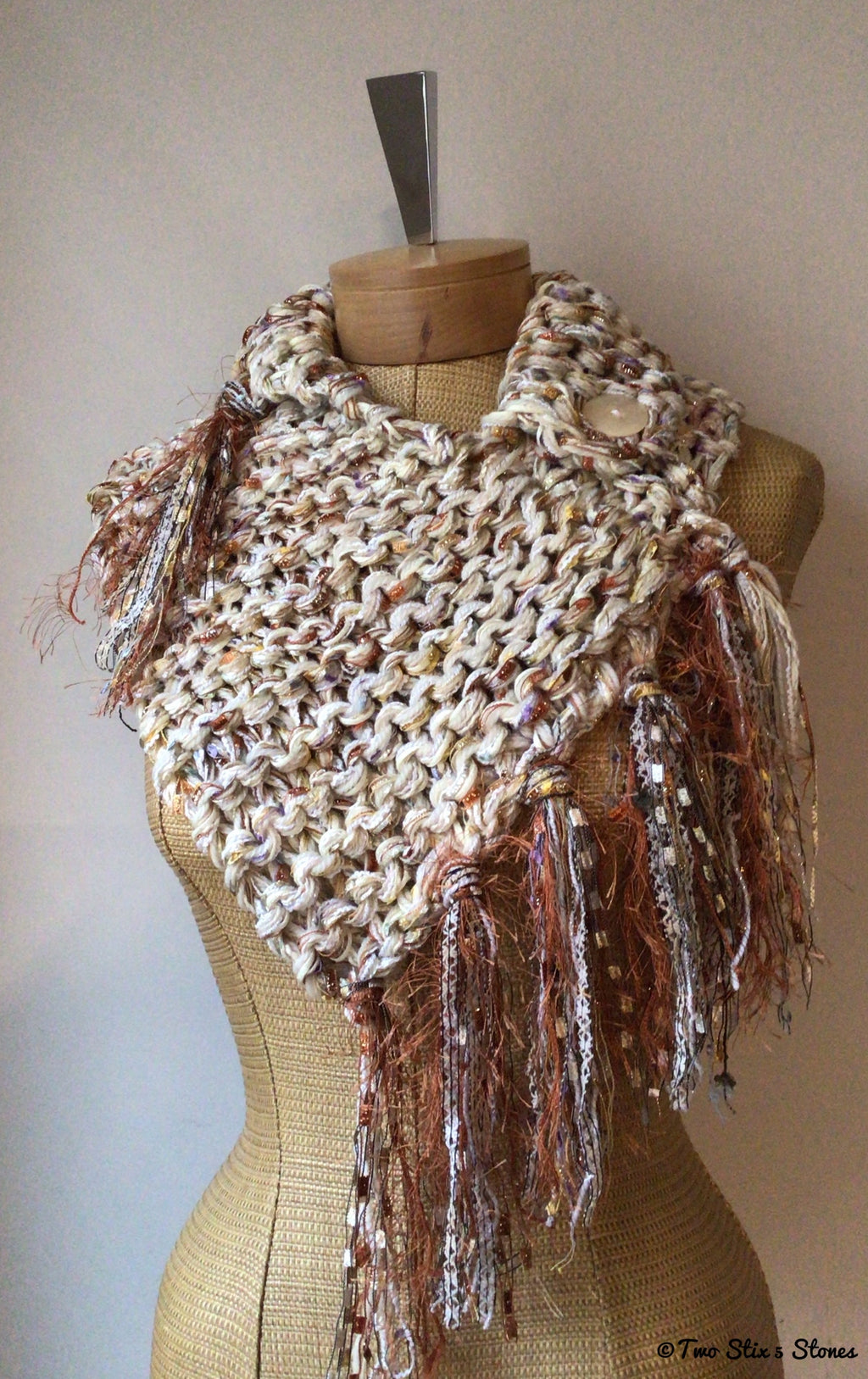 Luxe Pale Yellow & Copper Shawlette