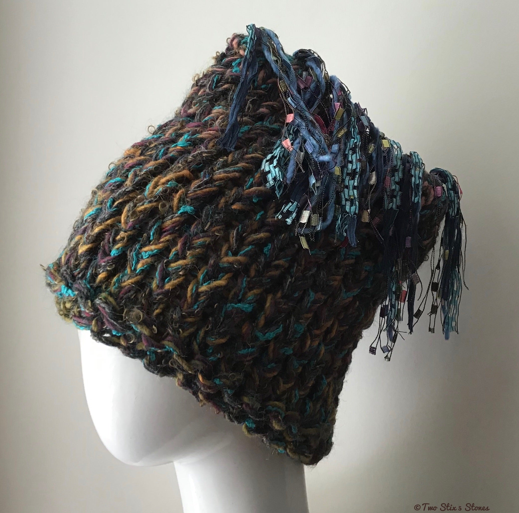 Brown & Turquoise Tweed *Funky Chic* Hat