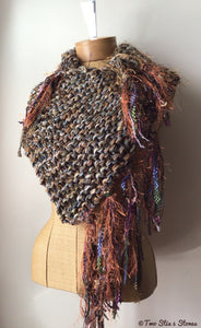 Luxe Brown Tweed Knit Shawl