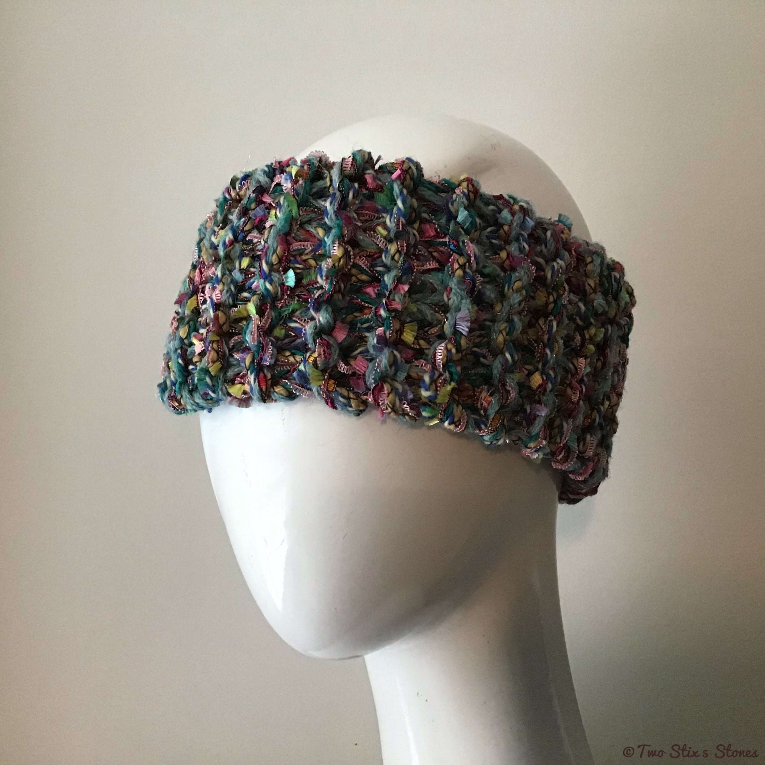 Blue/Green/Red Tweed Headband