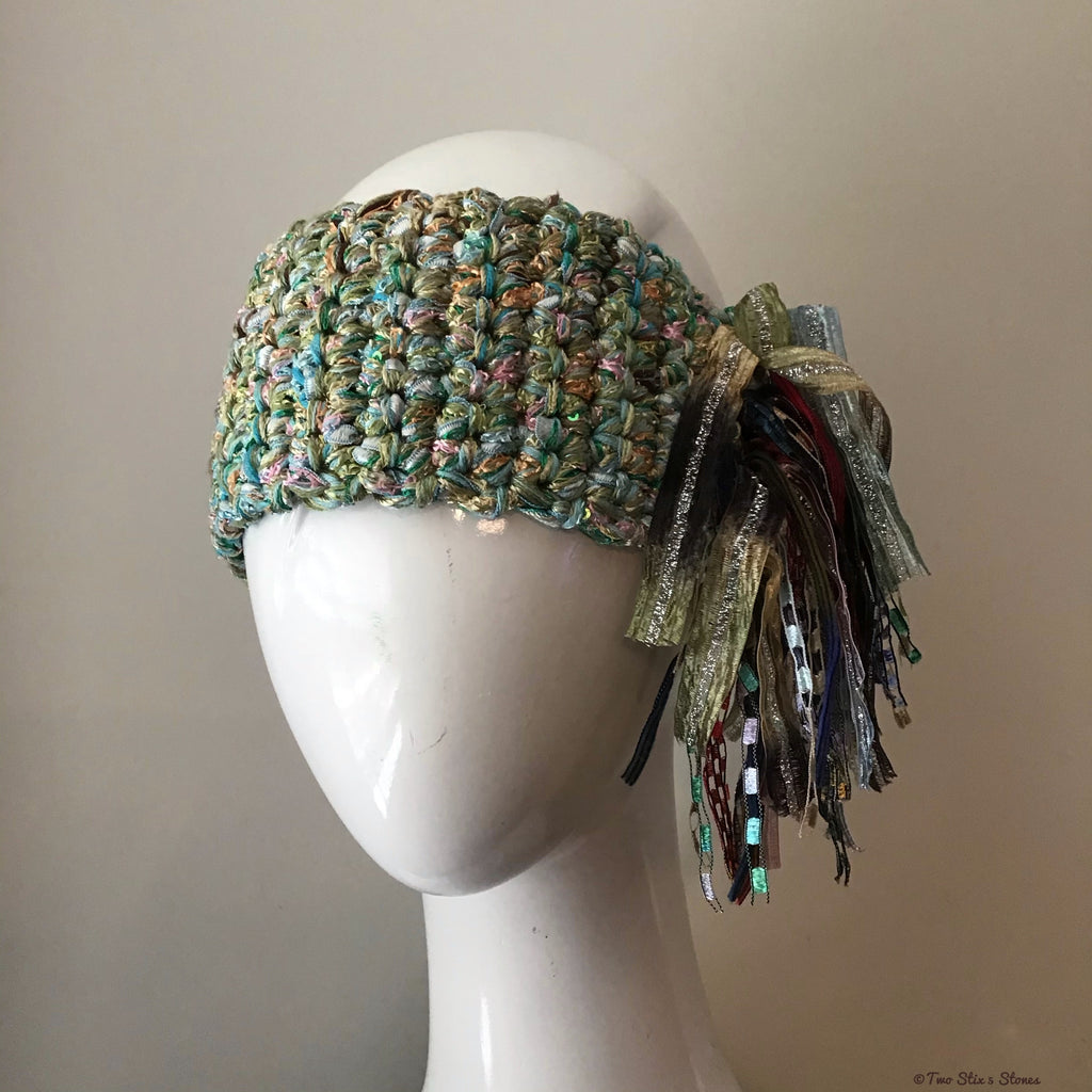 Luxe Green Tweed *Funky Chic* Headband