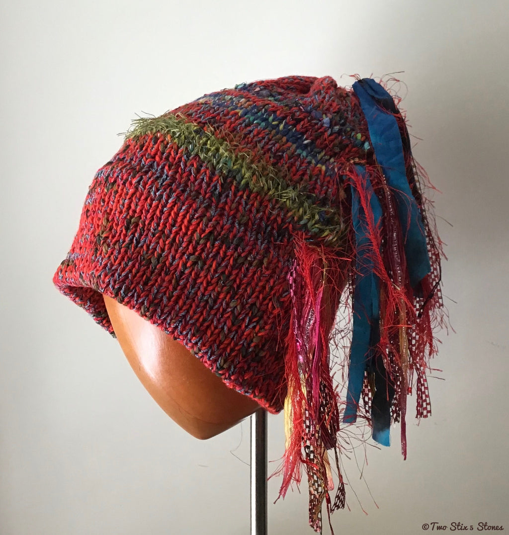 Luxe Red Tweed Slouchy Knit Slouchy Beanie w/Fringe
