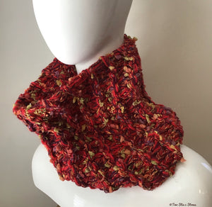 Red Tweed Hand-Knit Cowl