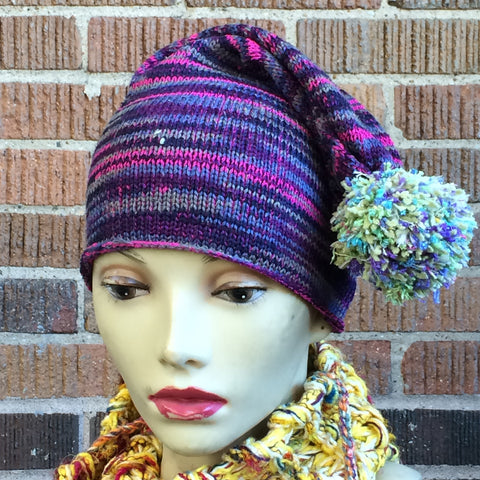 Bright Blue/Pink/Purple Slouchy Hat