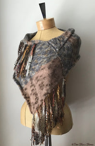 Rust & Grey Tweed Knit Shawl w/Fringe