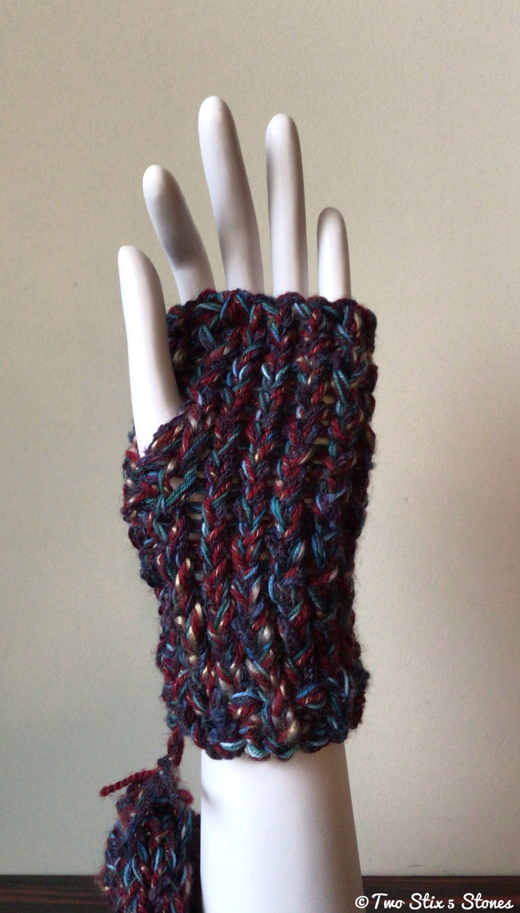 Purple Tweed Chunky Fingerless Gloves