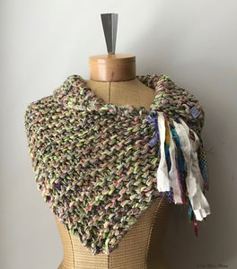 Green Tweed Shawlette w/Fringe