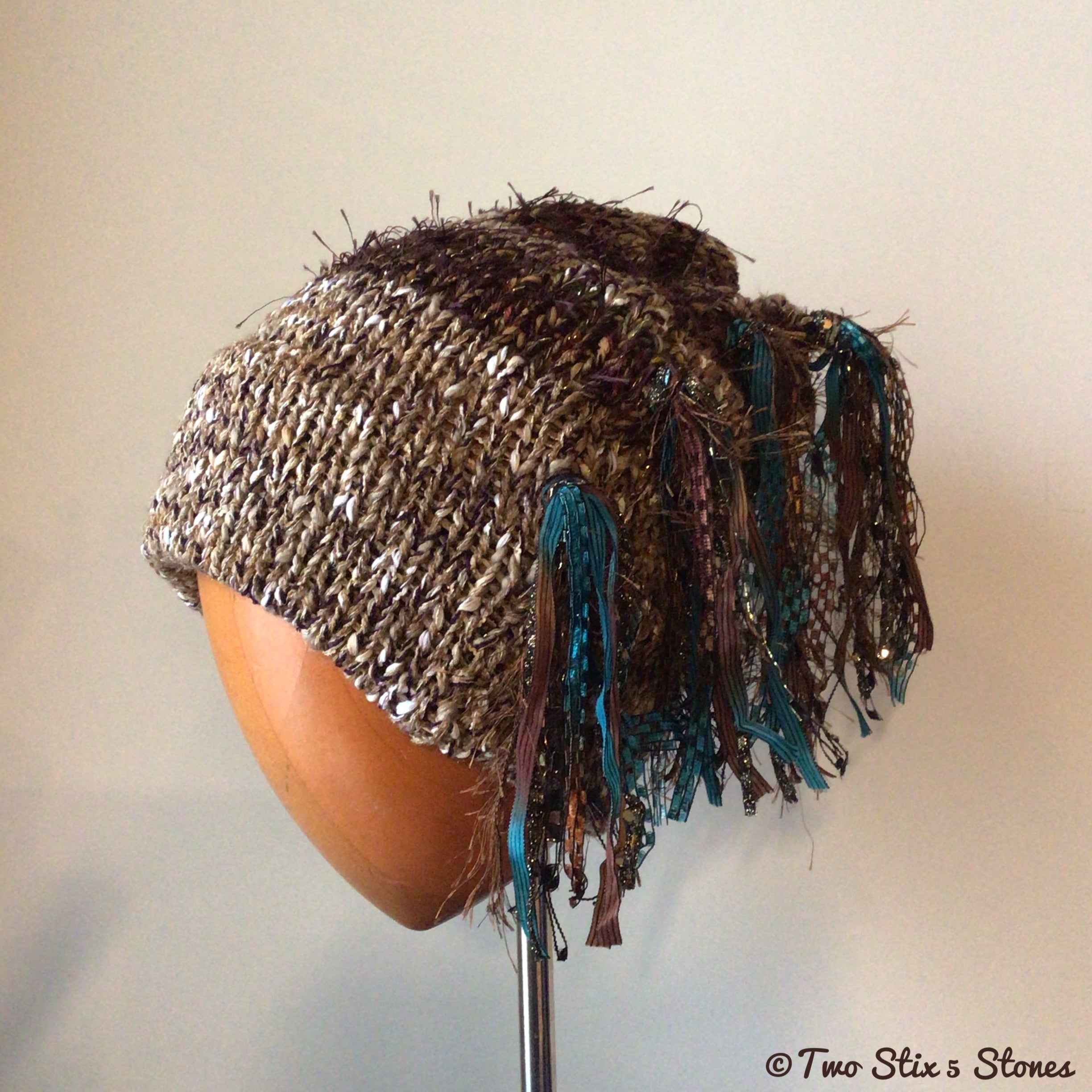 Luxe Oatmeal & Chocolate Tweed Signature *Funky Chic* Slouchy Hat
