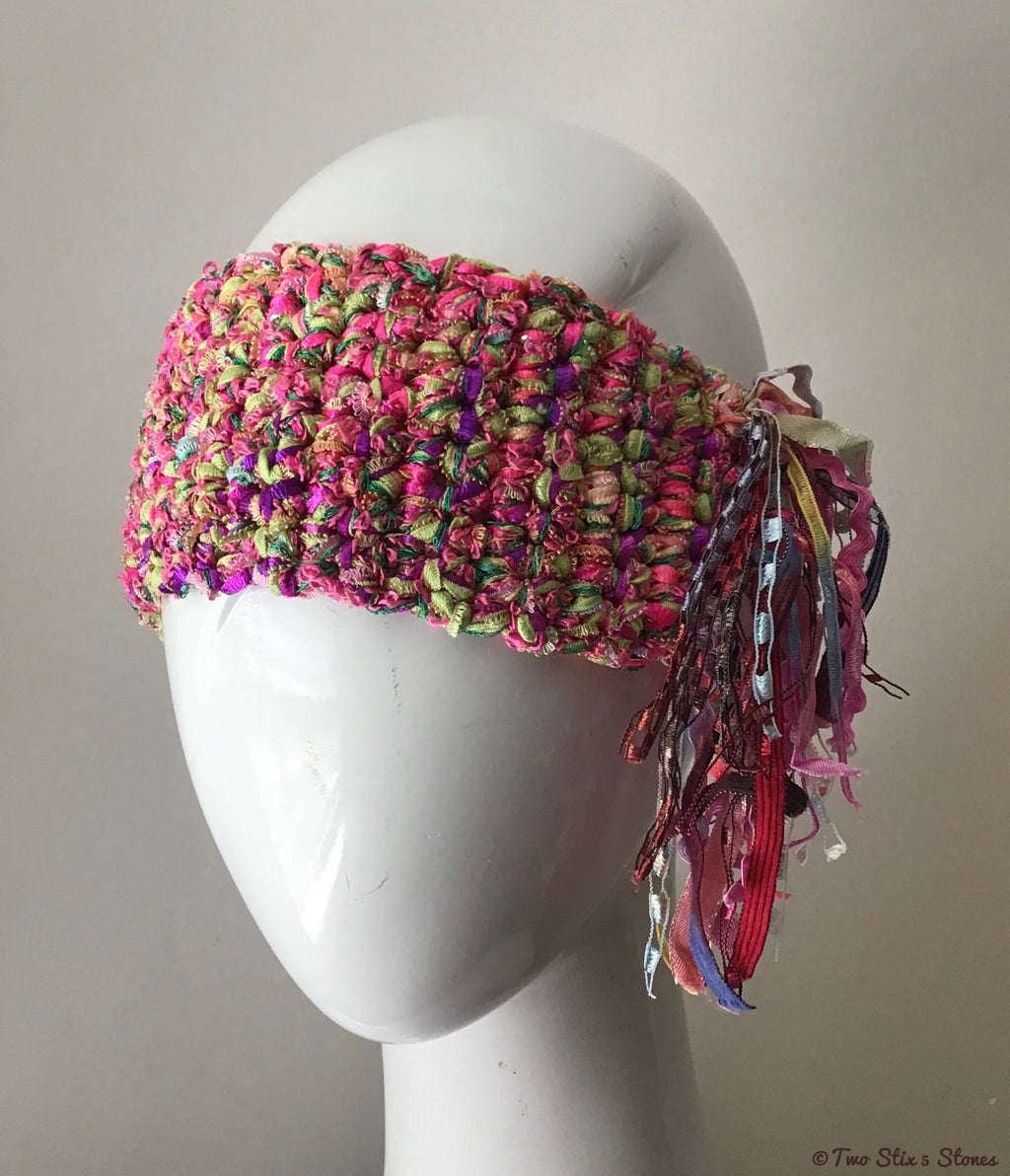Pink & Green Tweed *Funky Chic* Headband