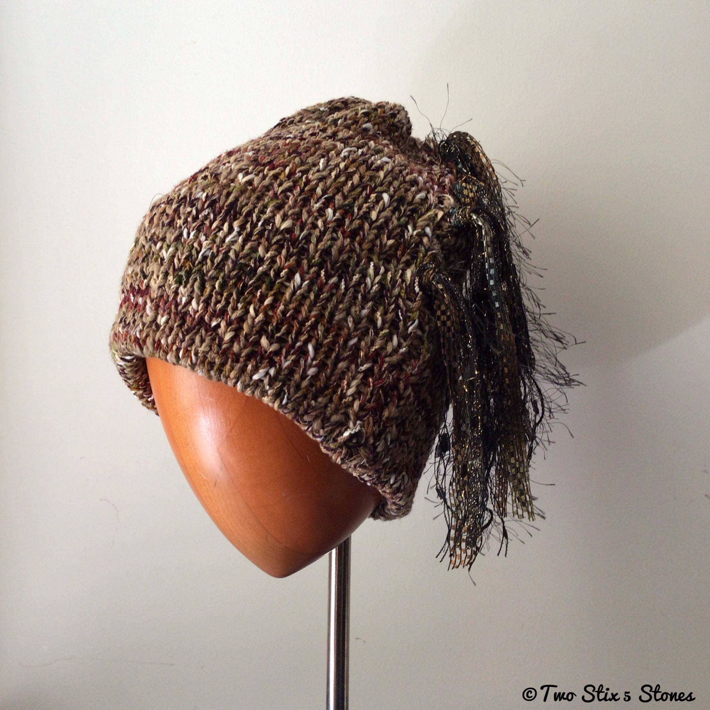 Luxe Brown Tweed *Funky Chic* Beanie
