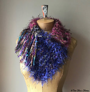Luxe Electric Pink & Blue Tweed Shawlette
