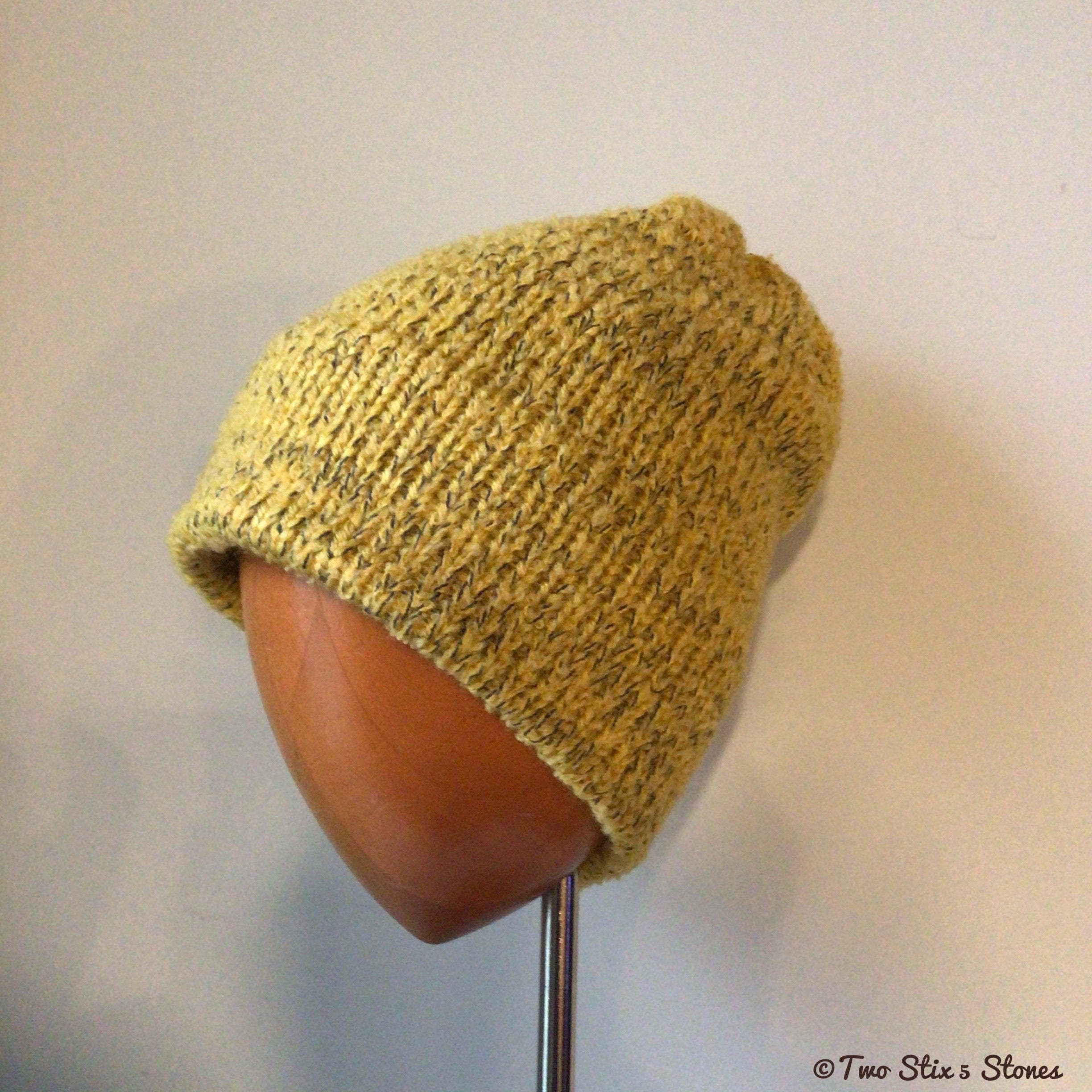 Unisex Mustard Tweed Knit Beanie