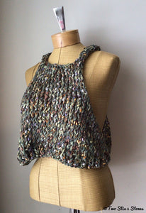 Green Tweed Knit Slipover