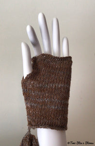 Mini Brown Tweed Fingerless Gloves