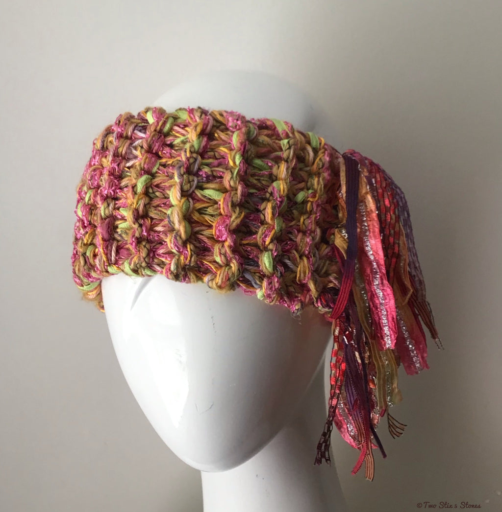 Orange/Pink/Green Tweed Headband