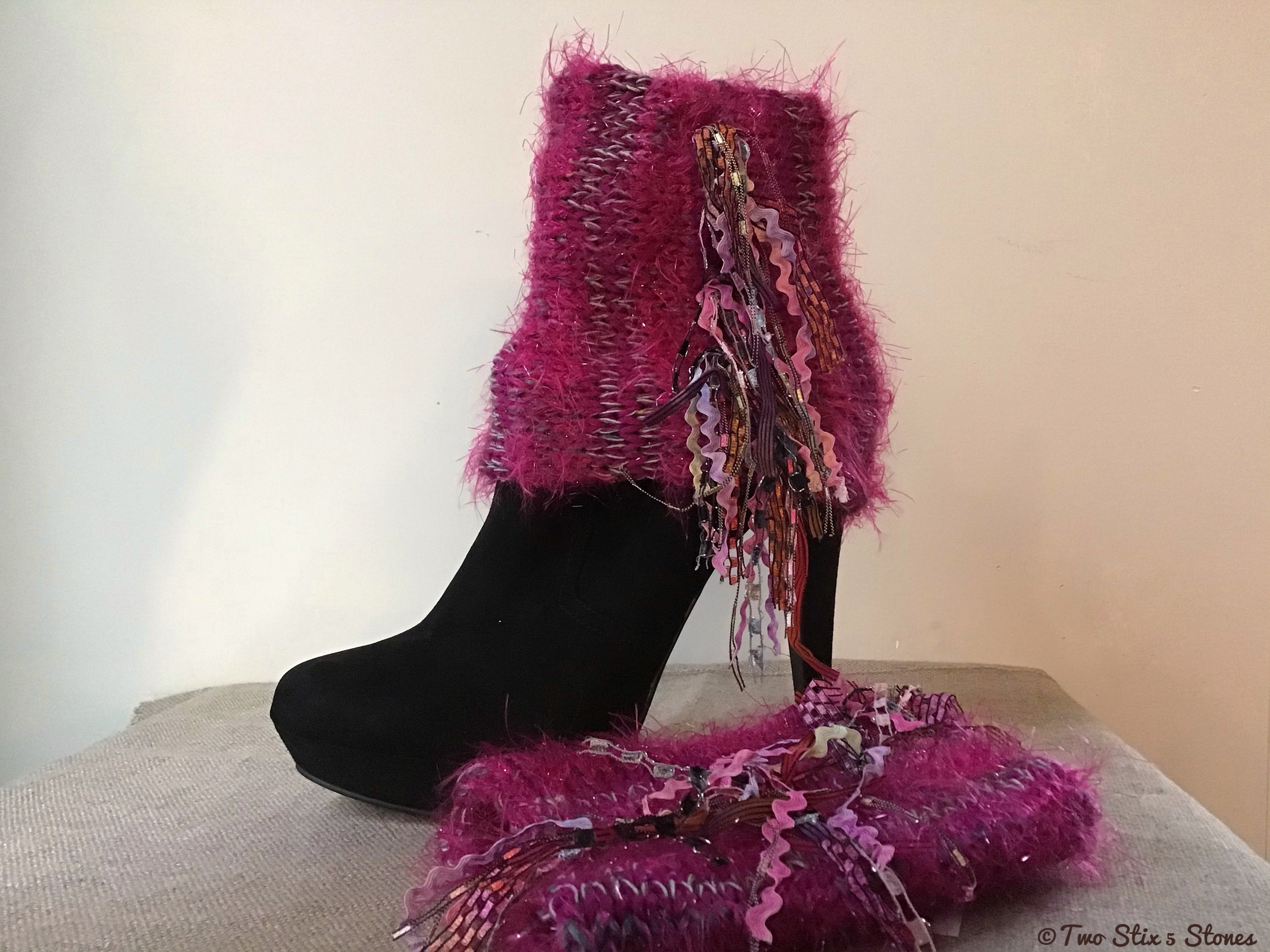 Fuchsia Tweed *Diva Chic* Boot Toppers
