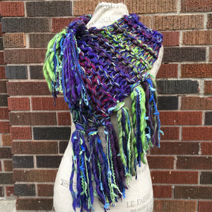 Deep Purple/Lime Green Variegated Tweed Shawl