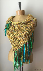 Yellow & Green Tweed Knit Shawl w/Fringe