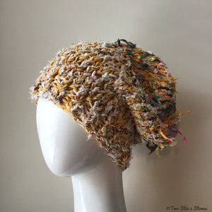 Luxe Cream & Yellow Tweed Funky Handknit Slouchy Hat