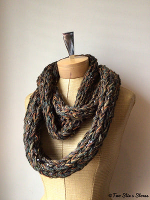 Chocolate Tweed Infinity Scarf
