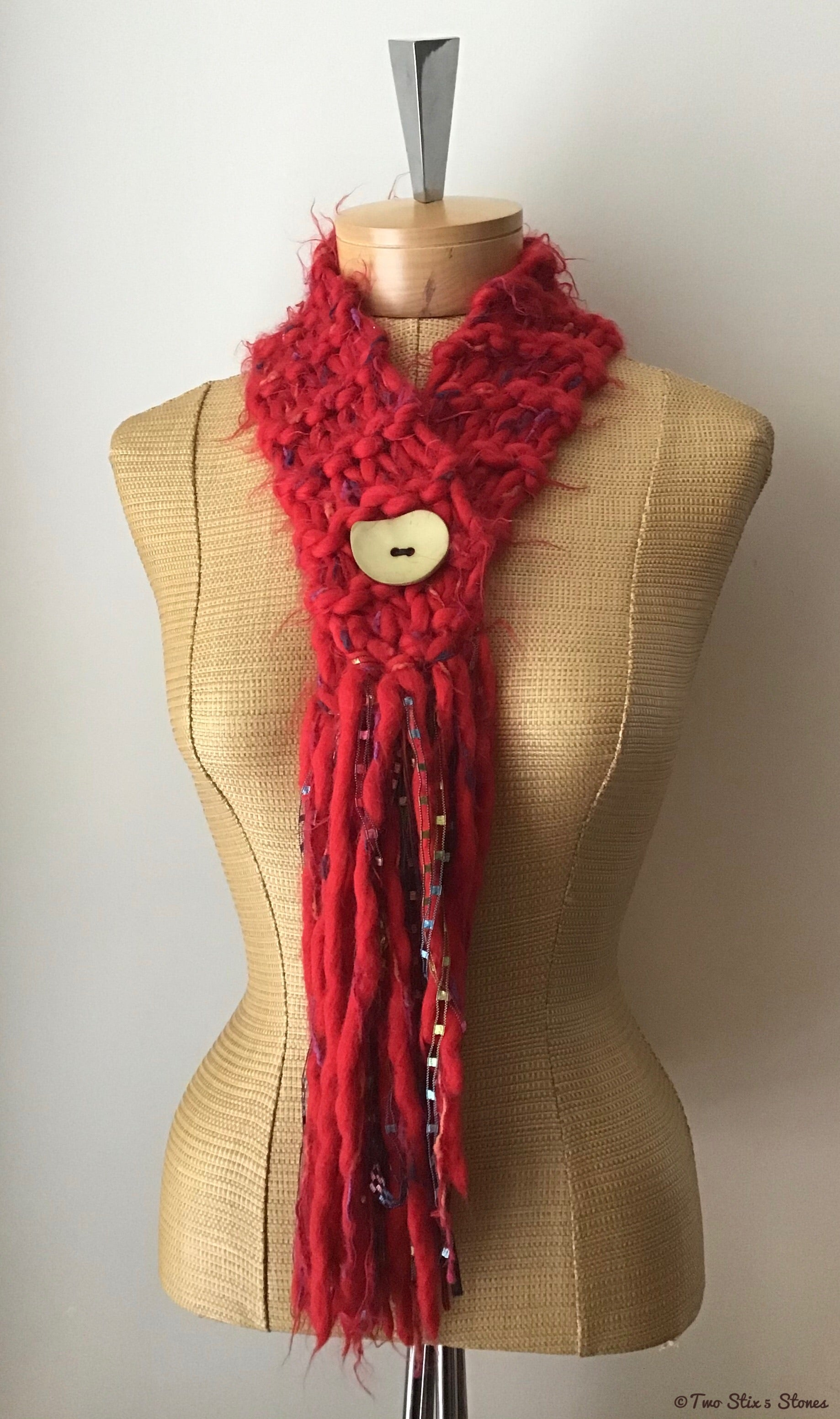 Red Tweed Slipover Scarf w/Button